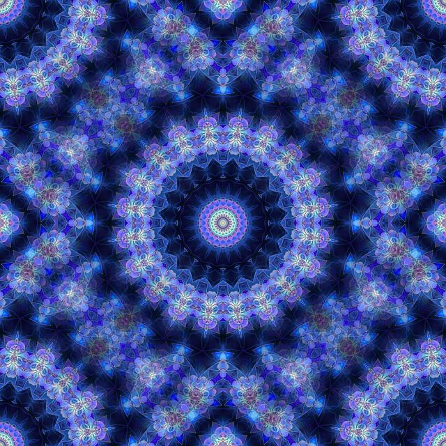 Mandala, Blue, Fractal, Seamless, Tile, Kaleidoscope