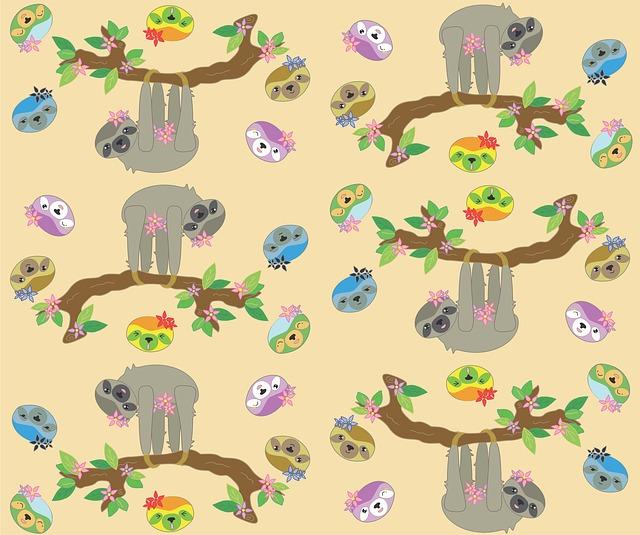 Sloth, Neutral Color, Cute, Cartoon, Vector, Tile