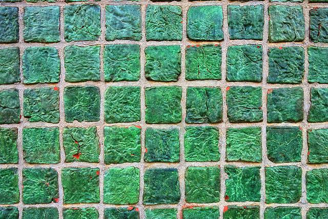 Wall, Tiled Wall, Tiles, Ceramic, Green Tiles