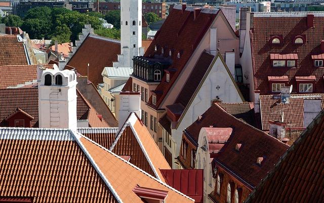 Estonia, Tallinn, Roofing, Tiles, Architecture