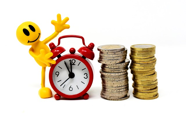 Time Is Money, Coins, Figures, Funny, Clock