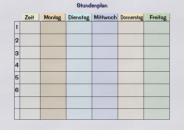 Timetable, Paper, Print Template, Teaching