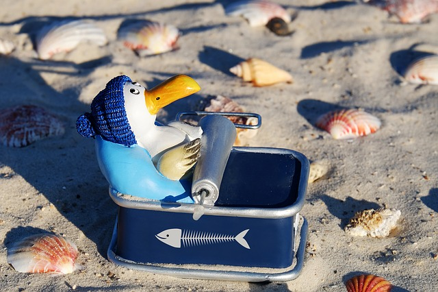 Penguin, Figure, Sitting, Tin Of Sardines, Fish Box