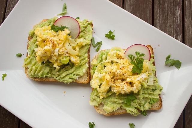 Avocado, Breakfast, Bread, Toast, Egg, Radishes