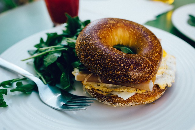 Breakfast, Bagel, Ham, Egg, Sandwich, Snack, Toasted