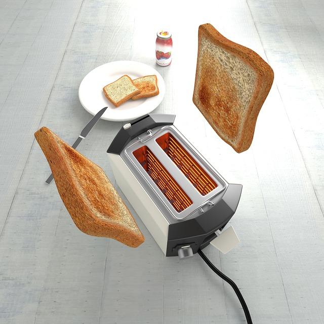 Toast, Toaster, Breakfast, White Bread, Slices Of Toast