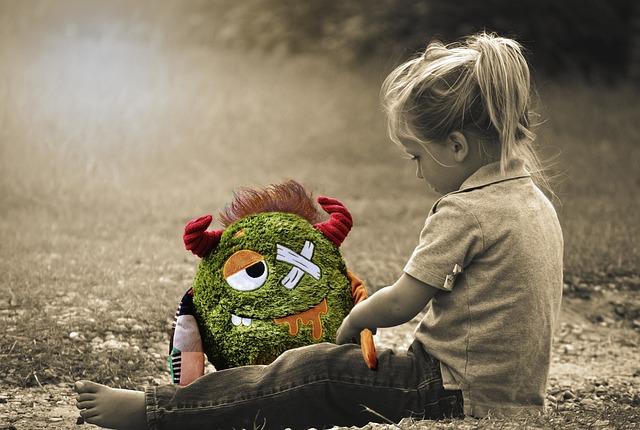 Little Girl, Toddler, Sitting, Monster, Stuffed Animal