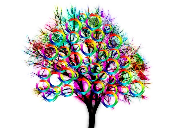 Tree, Structure, Gears, Color, Colorful, Together