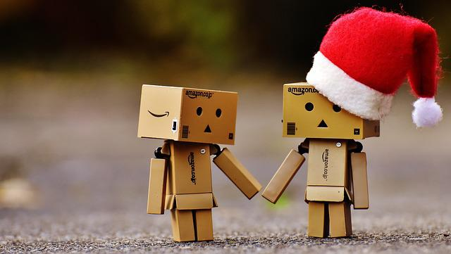 Danbo, Christmas, Figure, Together, Hand In Hand, Love