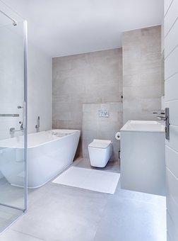 Modern Minimalist Bathroom, Interior, Toilet, Shower