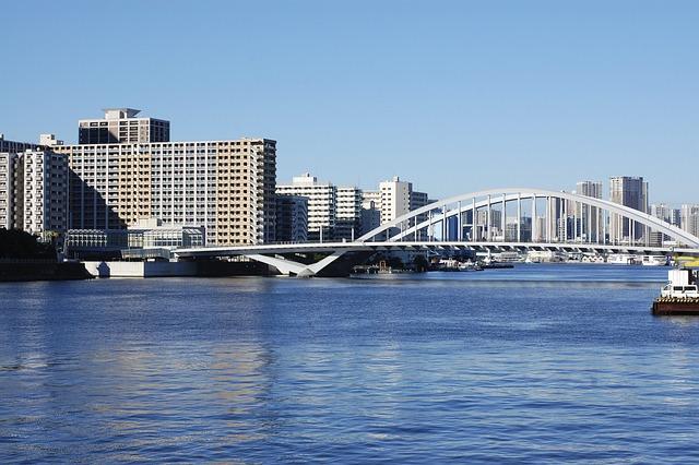 Japan, Tokyo, Bridge, Building, Houses, City, River