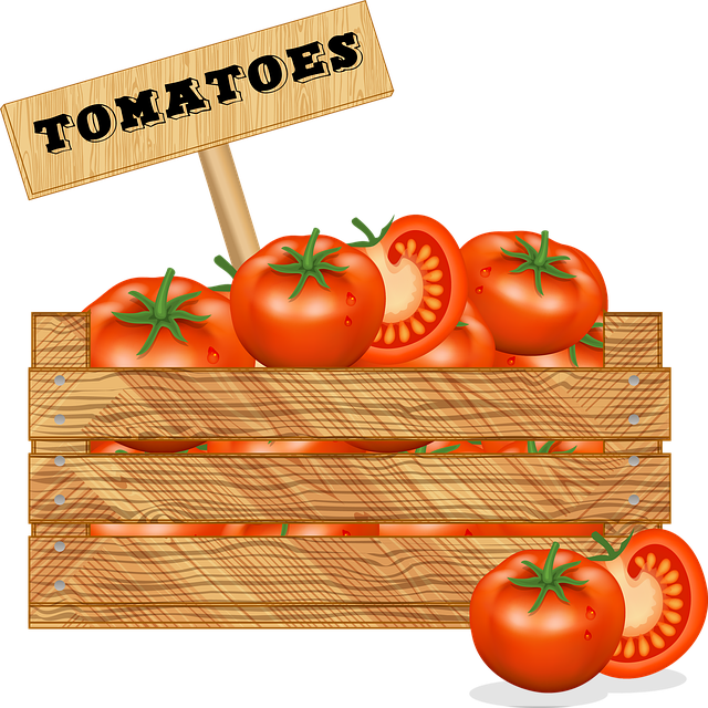 Crate Of Vegetables, Tomato, Wooden Box