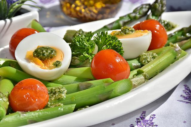 Meal, Asparagus, Dish, Food, Vegetables, Egg, Tomatoes