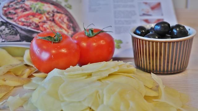 Potato, Tomatoes Olives, Eat, Meal, Preparation, Gratin