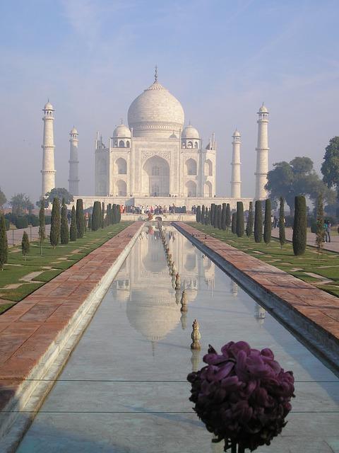 Taj Mahal, India, Agra, Tomb, Monument, Basin, Marble