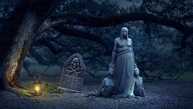Tombstone, Lantern, Graveyard, Fantasy, Creepy