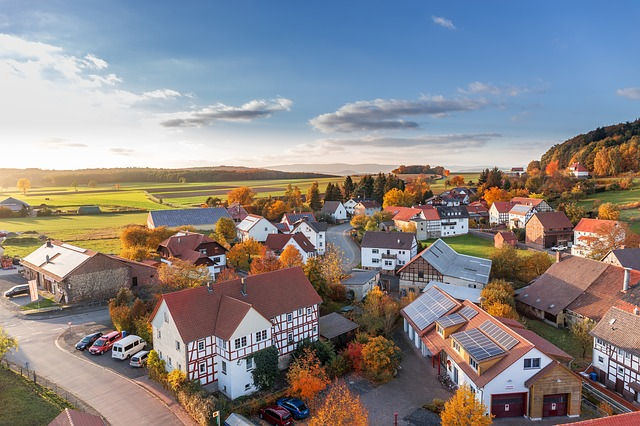 Village, Landscape, Homes, Aerial View, Top, Hesse