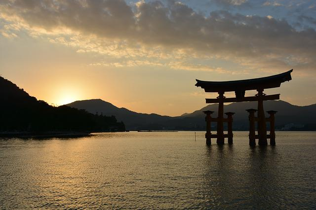 Shrine, Torii, Sunset, At Dusk, Sea, Japan Sankei
