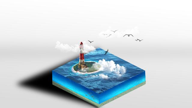 Sea, Lighthouse, Island, Belgium, Sky, Coast, Tourism