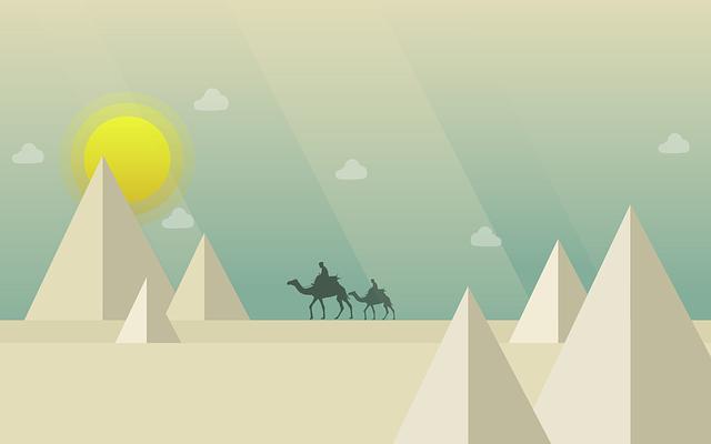 Camel, Desert, Pyramid, Sun, Clouds, Animal, Tourism
