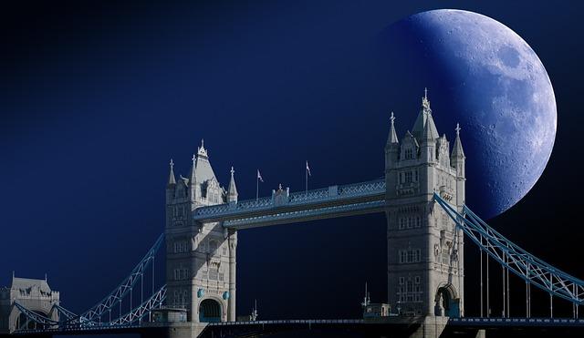 Tower Bridge, London, Moon, Zoom, Clouds, Sky
