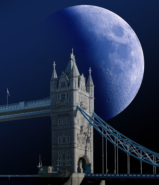 Tower Bridge, London, Moon, Zoom, Clouds, Sky, Night