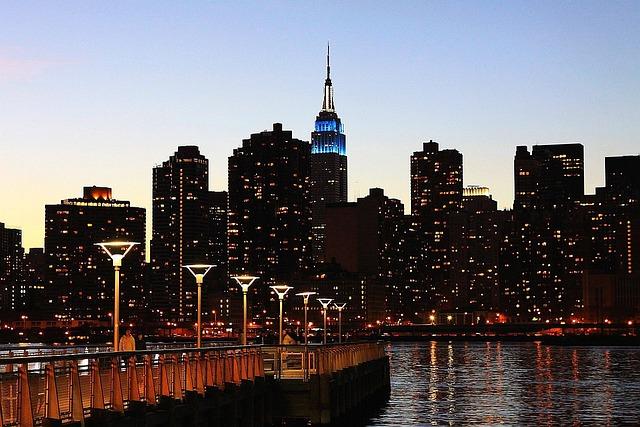 New, York, City, Skyline, Building, Tower, Lights