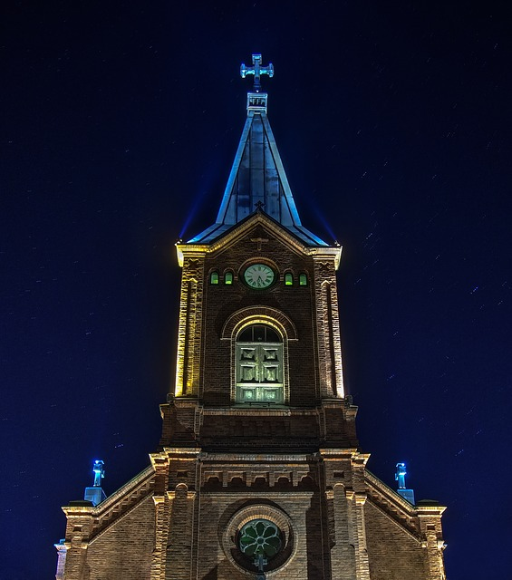 Church, Building, Sky, Tower, Blue, Finnish, Religion