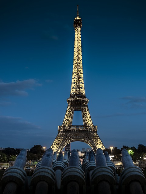 Eiffel Tower, Tower, Metal, Night, Sunset, Lighting