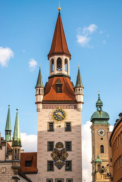 Tower, Building, Plaza, Europe, City Hall, Sky, Roof