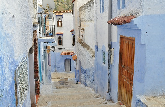Alley, Town, Old, Blue, Houses, Homes, Narrow, Ancient