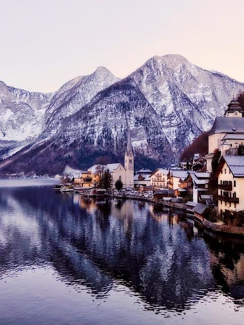 Hallstatt, Austria, Village, Town, Buildings, Mountains