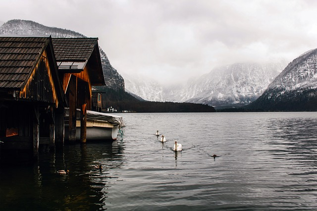 Hallstatt, Austria, Town, Village, Boathouse, Mountains