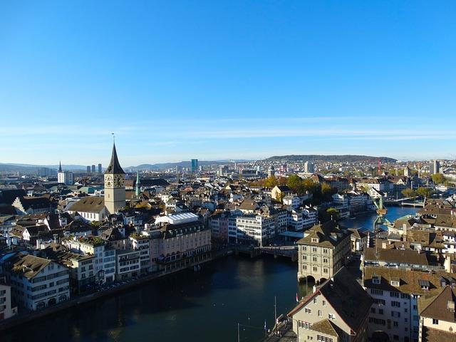 Zurich, City, Aerial View, Town Center