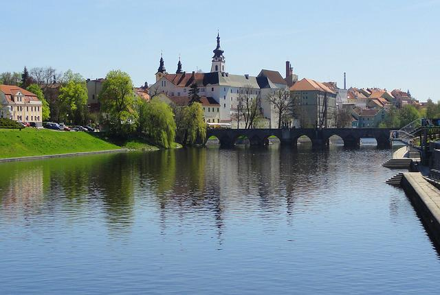 Panorama, Town, Czechia, Bridge, River, Water, Old
