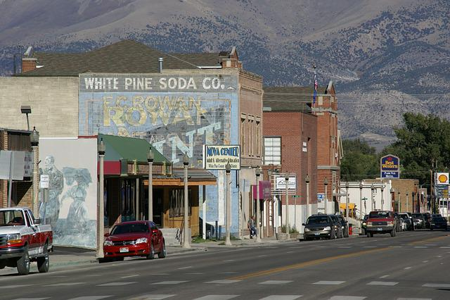 Aultman Street, Ely, Nevada, Usa, America, Town, Street