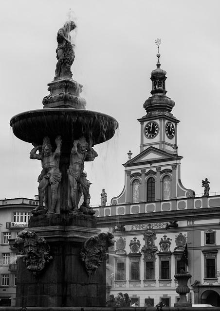 Black And White, Fountain, Town Hall, Czech Budejovice