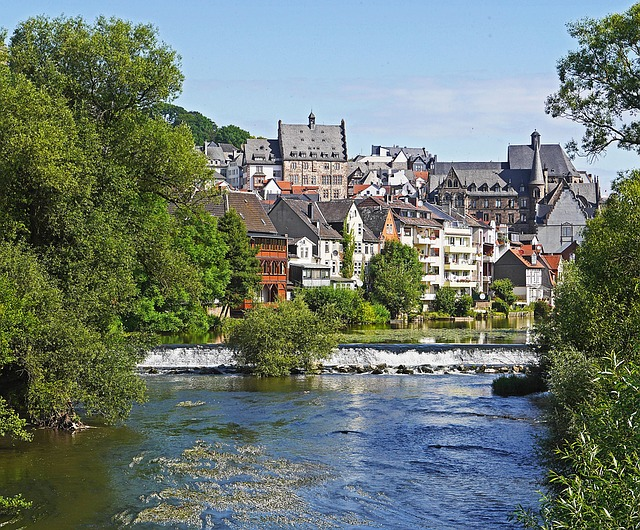 Marburg, Lahn, Weir, Upper Town, Town Hall