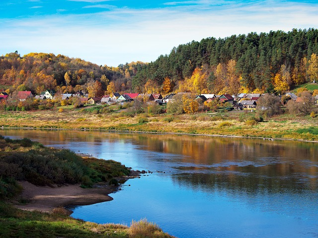Landscape, River, Water, Town, Autumn, Sky, Houses