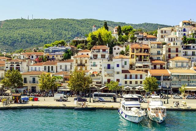Greece, Skiathos, Chora, Town, Port, Island, Summer