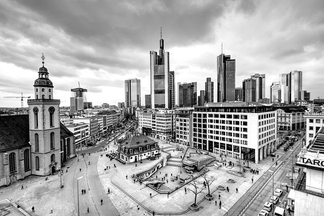 Citiyscape, Frankfurt, Hauptwache, Towers, Town, Sky