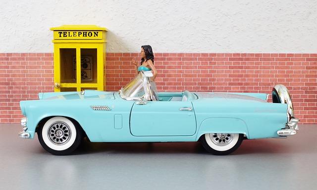 Model Car, Ford, Ford Thunderbird, Auto, Old, Toy Car