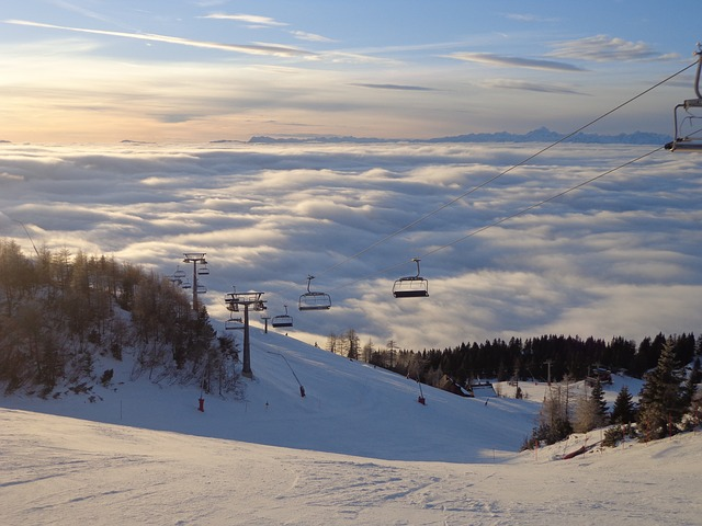 Slovenija, Krvavec, Skiing, Fog, Track, Sunset, Clouds