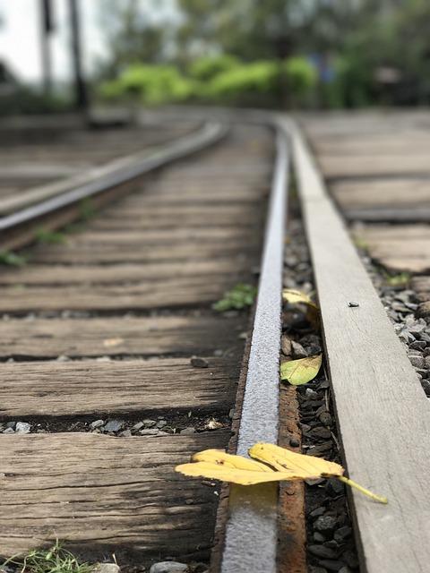 Nine, Rail, Track, Falling Leaf, Railway, Railroad