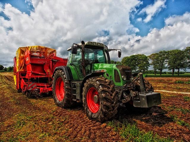 Tractor, Grain Mixer, Rural, Denmark, Farm, Country