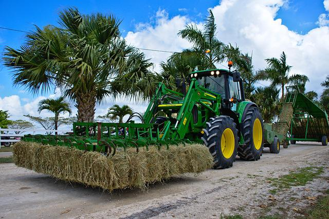 Farm Equipment, Tractor, Hay, Bales, Agriculture