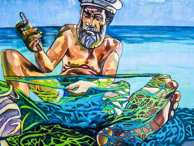 Fisherman, Nets, Repairing, Tradition, Graffiti, Wall