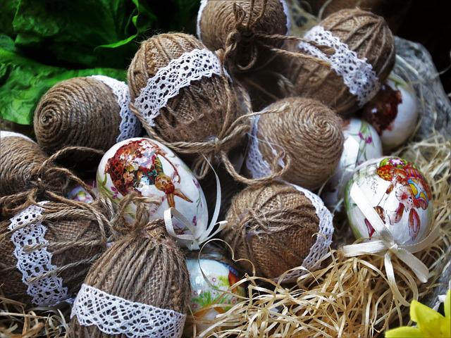 Eggs, Model, Closeup, Twine, Decoration, Traditional