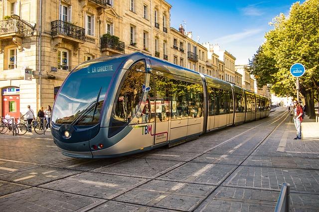Bordeaux, France, Tram, Traffic