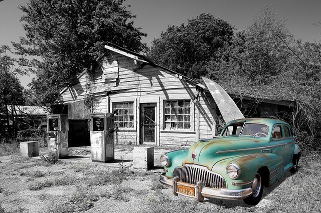 Buick, Oldtimer, Auto, Traffic, Refuel, Gasolin
